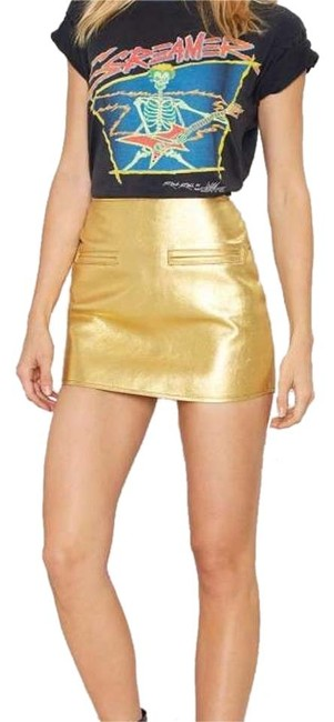 Item - Gold After Party Leather Mini Skirt Size 6 (S, 28)