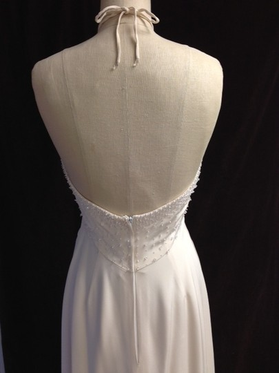 Tomasina White Silk Crepe Low Back Beaded Halter Lightweight Slim 1217 Empire Sexy Wedding Dress Size 8 (M) Image 10