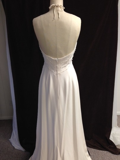 Tomasina White Silk Crepe Low Back Beaded Halter Lightweight Slim 1217 Empire Sexy Wedding Dress Size 8 (M) Image 11