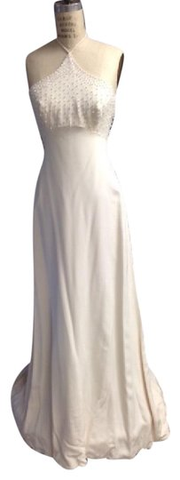Tomasina White Silk Crepe Low Back Beaded Halter Lightweight Slim 1217 Empire Sexy Wedding Dress Size 8 (M) Image 2
