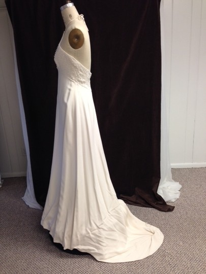 Tomasina White Silk Crepe Low Back Beaded Halter Lightweight Slim 1217 Empire Sexy Wedding Dress Size 8 (M) Image 4