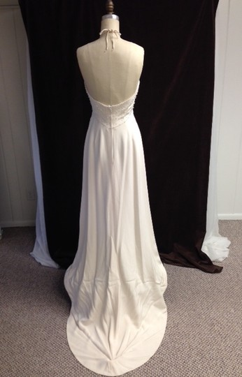 Tomasina White Silk Crepe Low Back Beaded Halter Lightweight Slim 1217 Empire Sexy Wedding Dress Size 8 (M) Image 7
