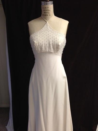Tomasina White Silk Crepe Low Back Beaded Halter Lightweight Slim 1217 Empire Sexy Wedding Dress Size 8 (M) Image 9
