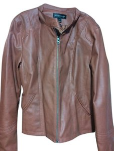 Bagatelle Scuba Front Burnt Orange Leather Jacket