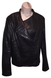Elie Tahari Tahari Lambskin Moto Asymmetric Leather Jacket