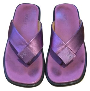 Louis Vuitton Leather Metallic pink Sandals