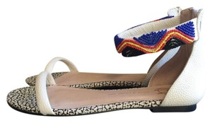 House of Harlow 1960 Venus White Leather Beaded Ankle Strap Rear Zip Closure White/multi Sandals