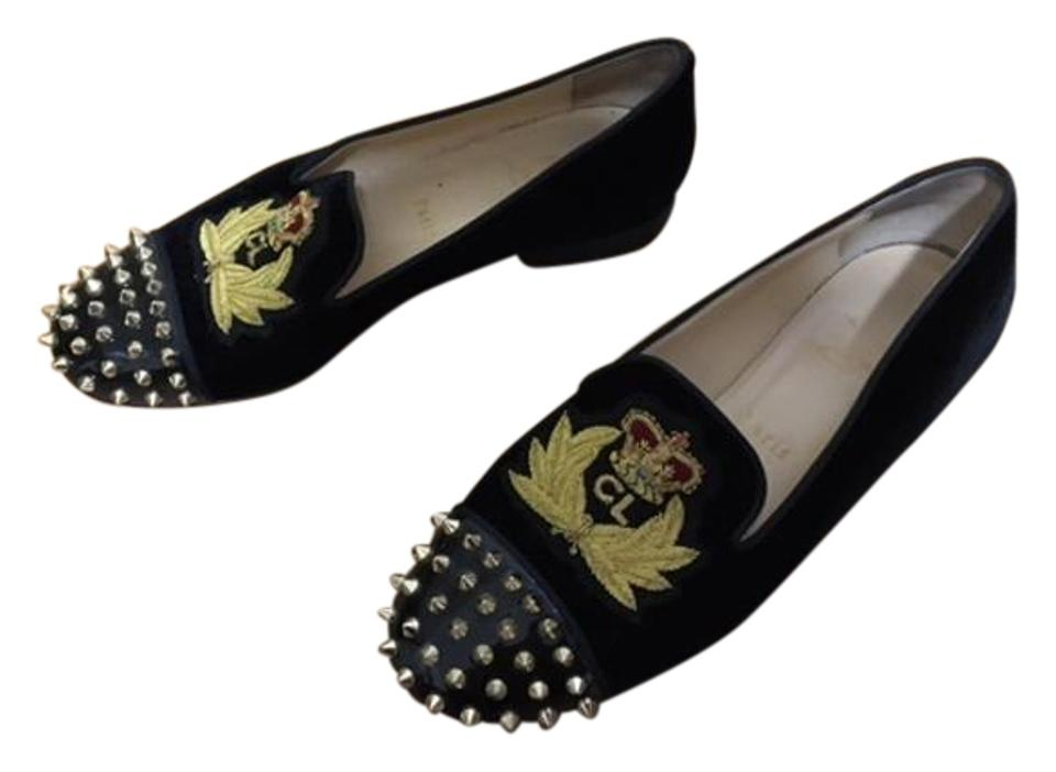 4f3d92d3ee1 Christian Louboutin Black Louis Vuitton Red Soled Edgy Spiked Loafers Flats  Size US 9 Regular (M, B) 59% off retail