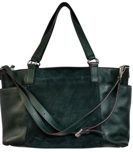 Michael Kors Tote Suede Leather Satchel in Forest Green