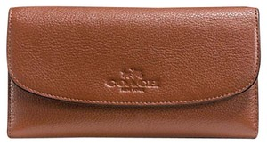 Coach Coach,Brown,Pebbled,Leather,Check,Book,Wallet