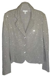 Charter Club Cotton Knit Silver Sequins gray Blazer