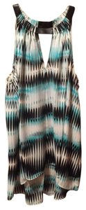 Vince Camuto Top Teal Black White
