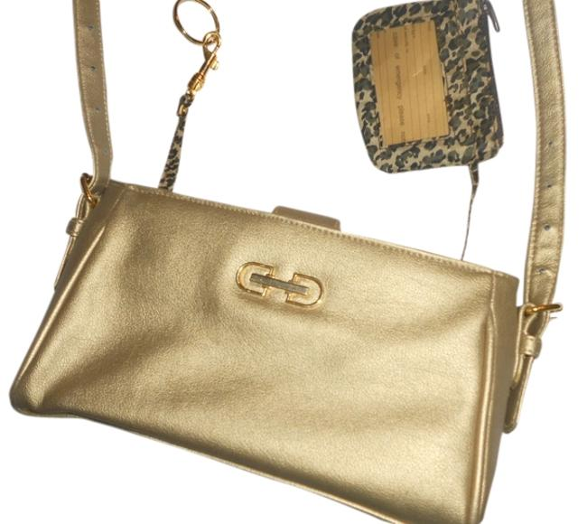 Item - Free Shipping New Small Gold Leather & Vinyl Shoulder Bag