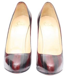 Christian Louboutin maroon/dark red and black striped Pumps