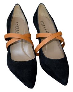Anyi Lu Made In Italy Black Suede Luggage Leather Straps Pumps