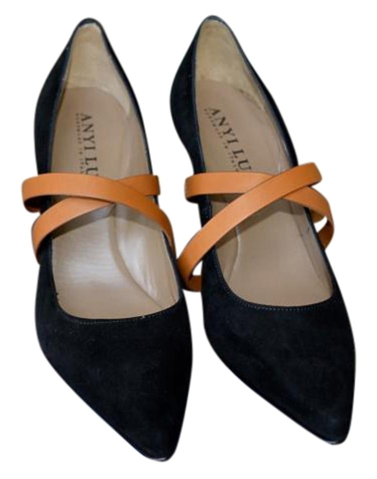71fb35ba122 Anyi Lu Made In Italy Comfort Black Suede Luggage Leather Straps Pumps  Image 0 ...