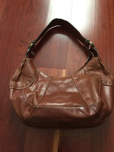 Fossil Leather Top Zip Closure Studded Hobo Bag