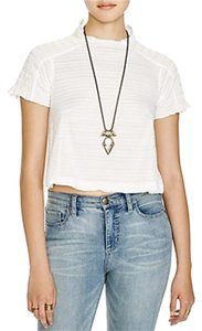 Free People Short Sleeve Polyester Cropped Top IVORY