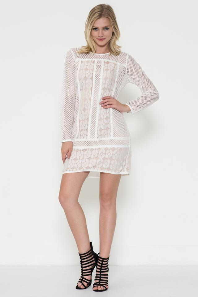 Esley Off White/Nude Long Sleeve Lace Overlay Mini Cocktail Dress ...