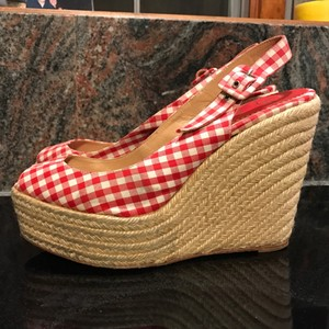 Christian Louboutin Vichy Espadrille Red & White Gingham Wedges