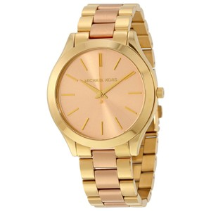 Michael Kors Two Tone Gold and Rose Gold Stainless Steel Designer Dress Watch
