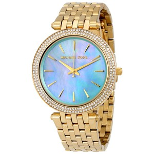 Michael Kors Blue Green Mother of Pearl Dial Crystal Pave Gold Designer Dress Watch
