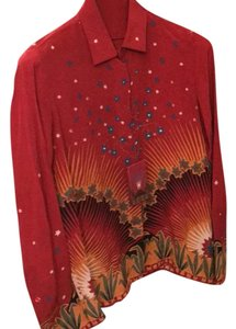 Valentino Button Down Shirt Red/print