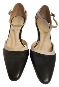 Ann Taylor LOFT T-strap Leather Cream and Blue Pumps