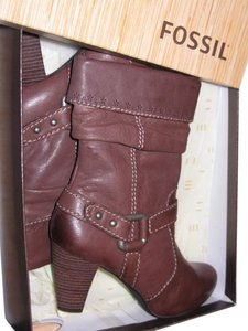 Fossil Floral Leather Bootie Brown Boots