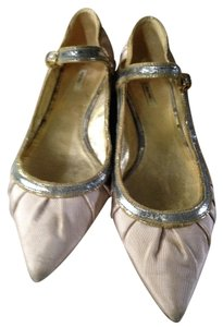 Miu Miu Gold Silver Leather Nude Flats