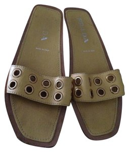 Prada Leather Studded Yellow Sandals