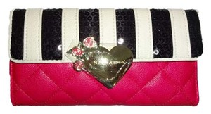 Betsey Johnson FLAP OVER/ SEQUIN STRIPED/ QUILTED DIAMOND FUCHSIA WALLET/ gift boxed