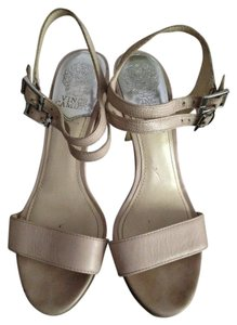 Vince Camuto Leather Neutral Sandal Nude Platforms