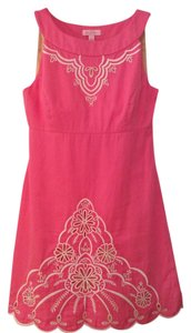 Lilly Pulitzer short dress pink Embroidered Scalloped Hem Empire Waist on Tradesy