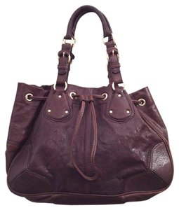 Antonio Melani Leather Drawstring Satchel in Dark Brown
