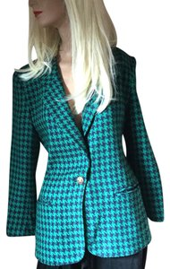 Koret Petites Houndstooth Green, Navy Jacket
