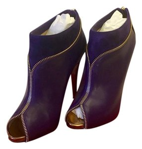 Christian Louboutin Leather Suede Bootie Purple & Gold Boots