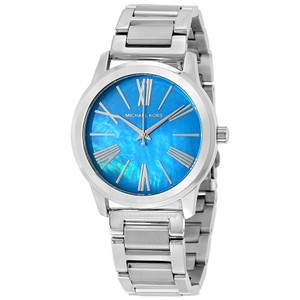 Michael Kors Blue Mother of Pearl Dia Silver Stainless Steel Designer Watch