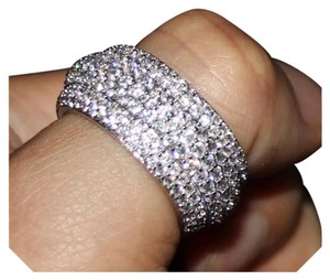 Other New 2ct Mega Bling Double 925 Silver Wedding Band
