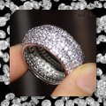 Other New 2ct Mega Bling Double 925 Silver Wedding Band Image 2