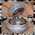 Other New 2ct Mega Bling Double 925 Silver Wedding Band Image 3
