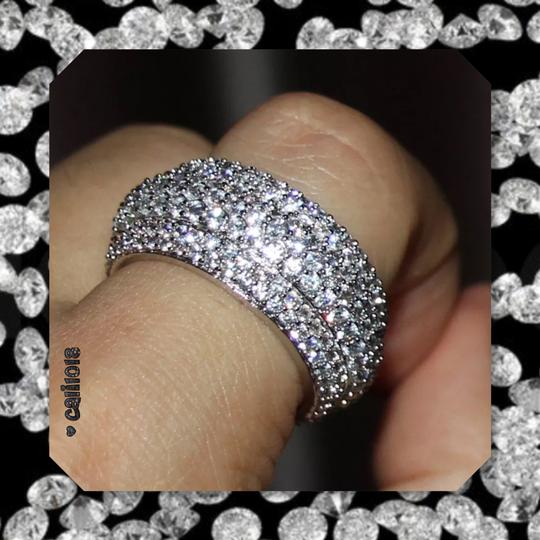 Other New 2ct Mega Bling Double 925 Silver Wedding Band Image 4