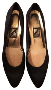 J. Renee Satin Black Pumps