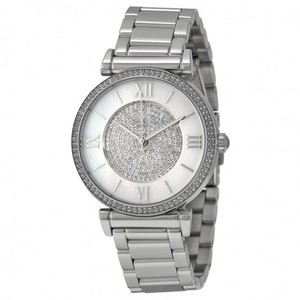 Michael Kors Caitlin Silver Crystal Pave Dial Ladies Watch MK3355