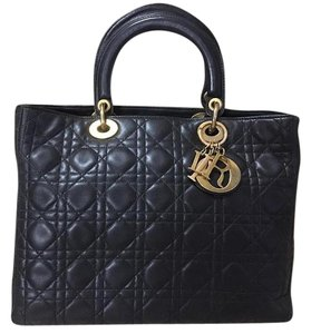 Dior Lady Lambskin Leather Large Satchel in Black