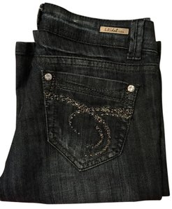 LA Idol Crystal Dark Rinse Stretchy Boot Cut Jeans