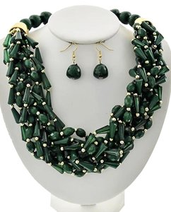 Other Green Acrylic Multi Strand Necklace & Earring Set