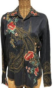 Johnny Was Embroidered Silk Button Front Button Down Shirt Blue