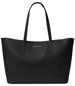 Michael Kors Leather Imported Tote in BLACK