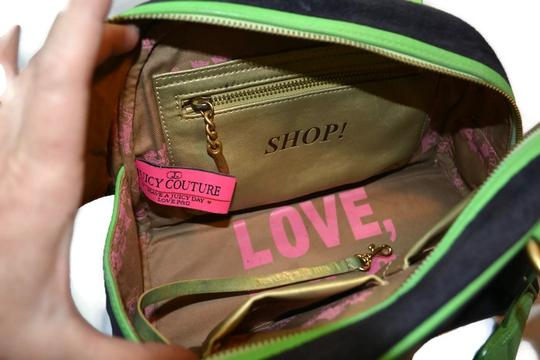 Juicy Couture Velour Leather Preowned Satchel in Navy Blue and Green